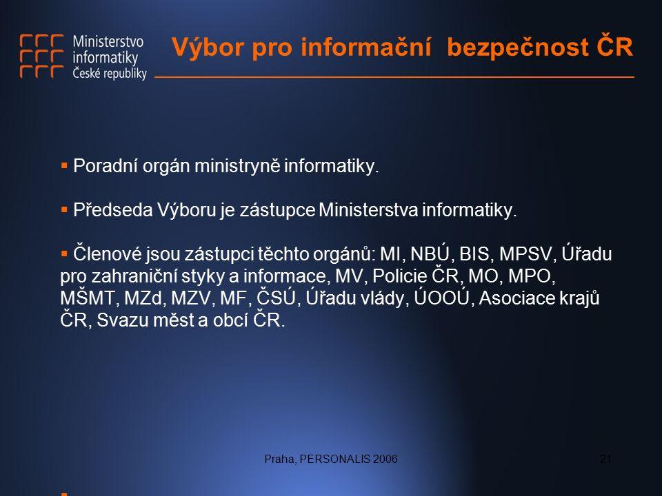 Praha, PERSONALIS 200621 Výbor pro informační bezpečnost ČR  Poradní orgán ministryně informatiky.