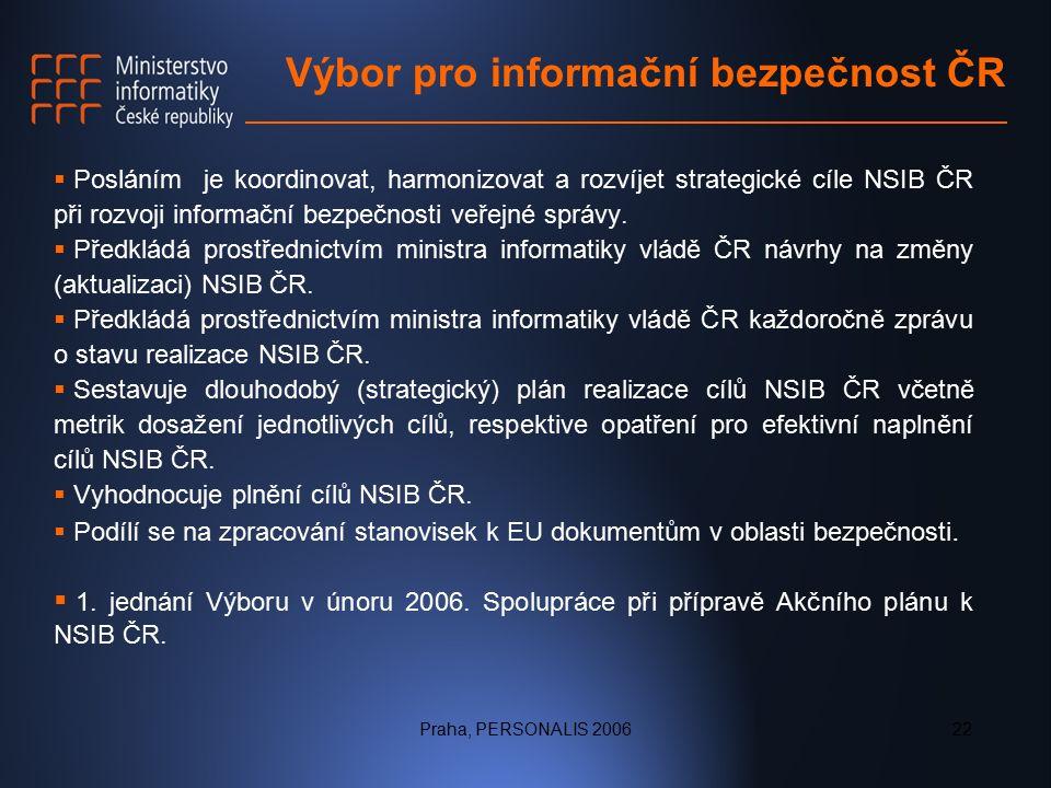 Praha, PERSONALIS 200622 Výbor pro informační bezpečnost ČR  Posláním je koordinovat, harmonizovat a rozvíjet strategické cíle NSIB ČR při rozvoji informační bezpečnosti veřejné správy.