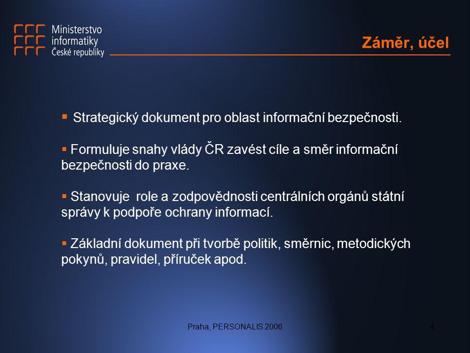 Praha, PERSONALIS 20064 Záměr, účel  Strategický dokument pro oblast informační bezpečnosti.