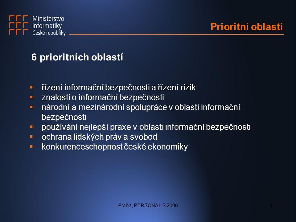 Praha, PERSONALIS 20065 Prioritní oblasti 6 prioritních oblastí  řízení informační bezpečnosti a řízení rizik  znalosti o informační bezpečnosti  národní a mezinárodní spolupráce v oblasti informační bezpečnosti  používání nejlepší praxe v oblasti informační bezpečnosti  ochrana lidských práv a svobod  konkurenceschopnost české ekonomiky
