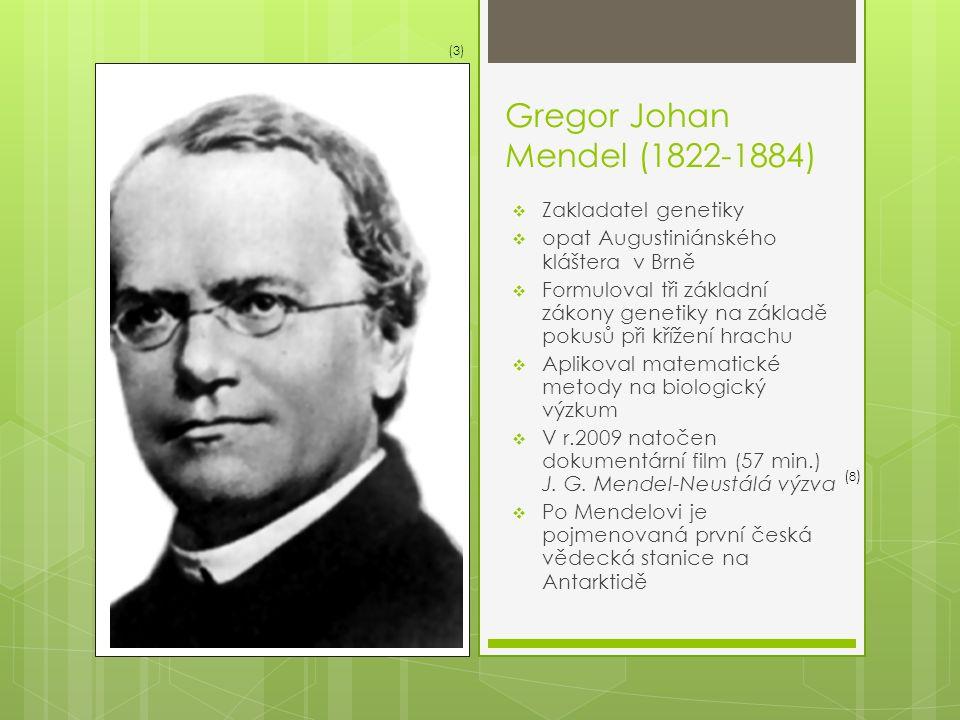 Gregor Johan Mendel (1822-1884)  Zakladatel genetiky  opat Augustiniánského kláštera v Brně  Formuloval tři základní zákony genetiky na základě pokusů při křížení hrachu  Aplikoval matematické metody na biologický výzkum  V r.2009 natočen dokumentární film (57 min.) J.