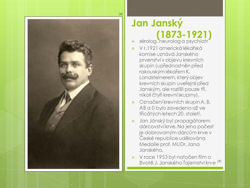 Jan Janský (1873-1921)  sérolog, neurolog a psychiatr  V r.1921 americká lékařská komise uznává Janského prvenství v objevu krevních skupin (upřednostněn před rakouským lékařem K.