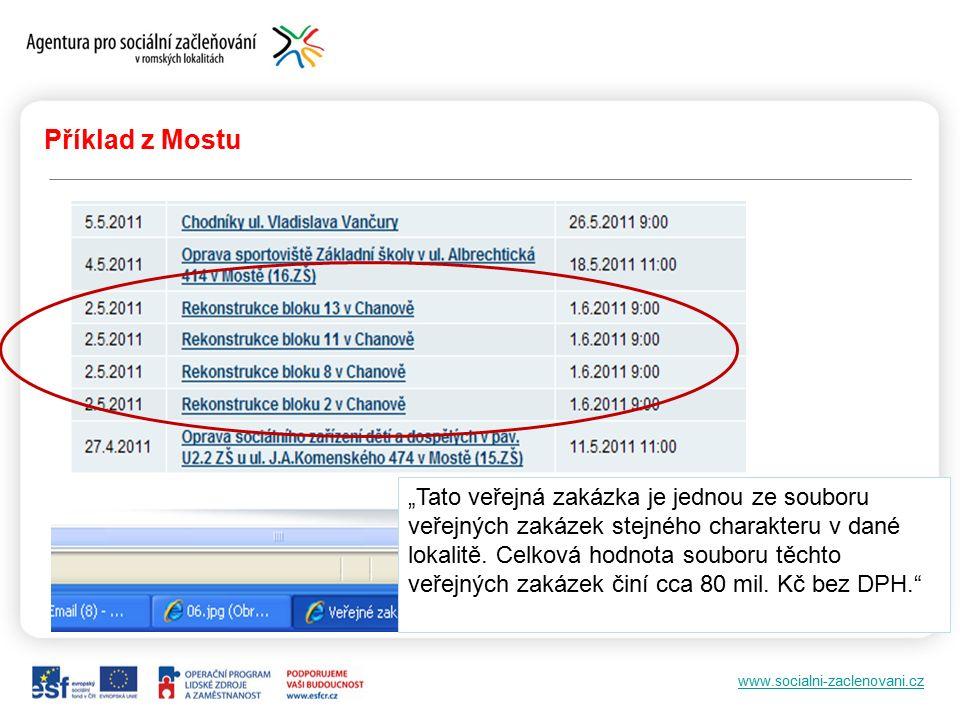 """www.socialni-zaclenovani.cz Příklad z Mostu """"Tato veřejná zakázka je jednou ze souboru veřejných zakázek stejného charakteru v dané lokalitě."""