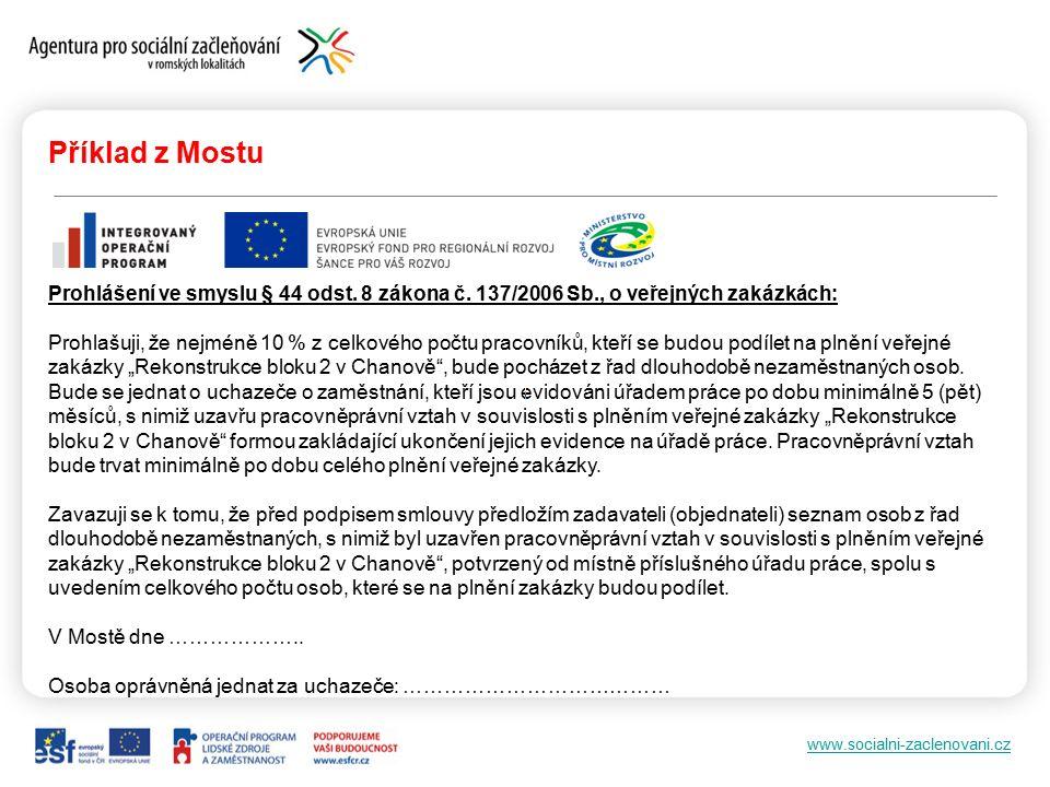 www.socialni-zaclenovani.cz Příklad z Mostu Prohlášení ve smyslu § 44 odst.