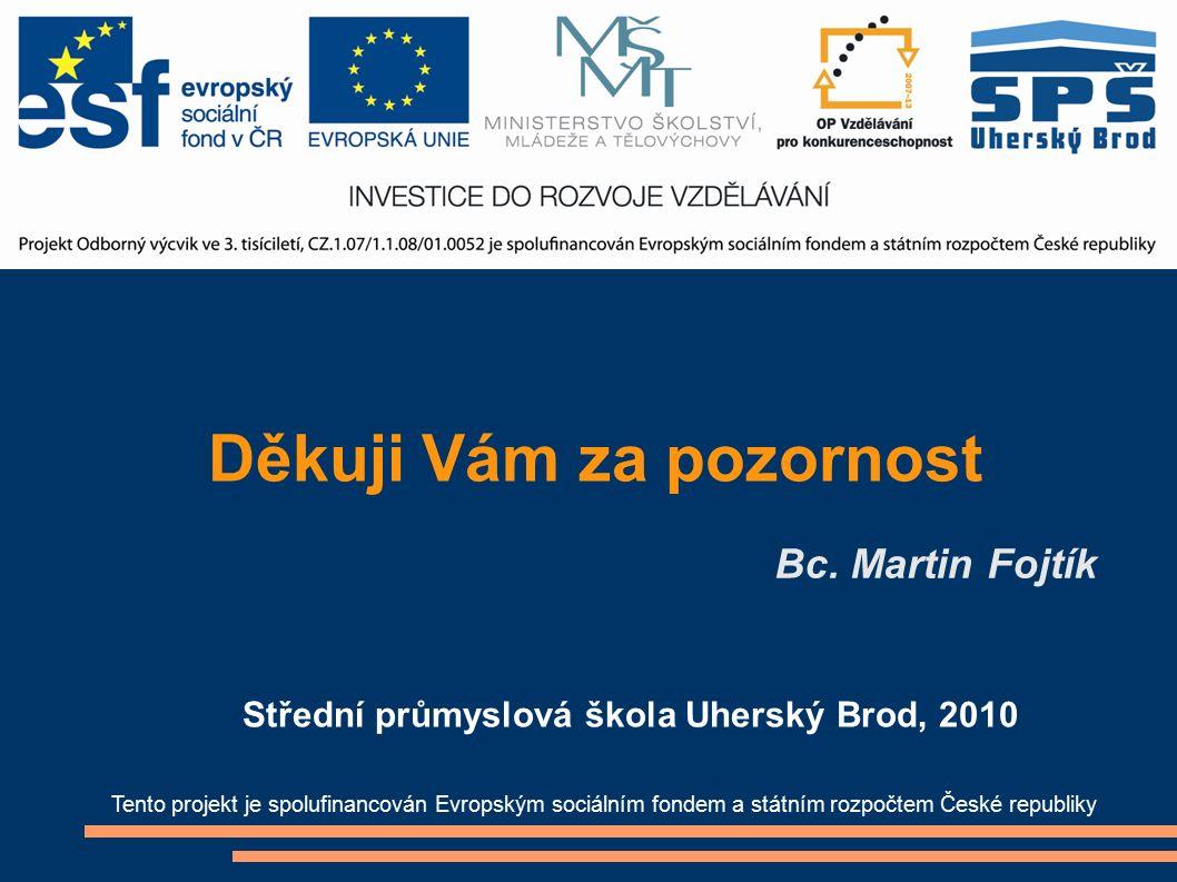 Děkuji Vám za pozornost Bc. Martin Fojtík Tento projekt je spolufinancován Evropským sociálním fondem a státním rozpočtem České republiky Střední prům
