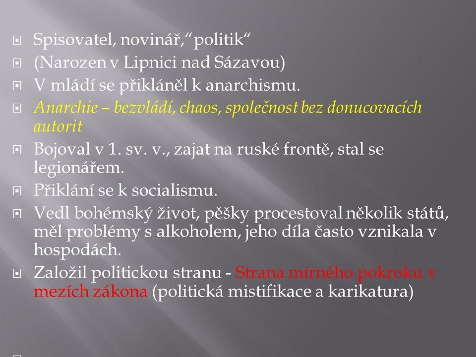  Spisovatel, novinář, politik  (Narozen v Lipnici nad Sázavou)  V mládí se přikláněl k anarchismu.