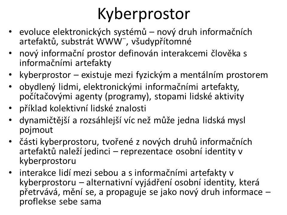 Proflekse reprezentuje naši osobní identitu v kyberprostoru produkt našich vědomých a nevědomých činností v kyberprostoru produkt spolupráce a vědomé či nevědomé interakce s lidmi a počítačovými agenty dynamický osobnostní profil, který ovlivňuje jak nás jiní lidé a agenti chápou a ovlivňuje naše další činnosti v kyberprostoru i ve fyzickém světě hranice mezi kyberprostorem a fyzickým prostorem se stírají  důležitost identity v kyberprostoru