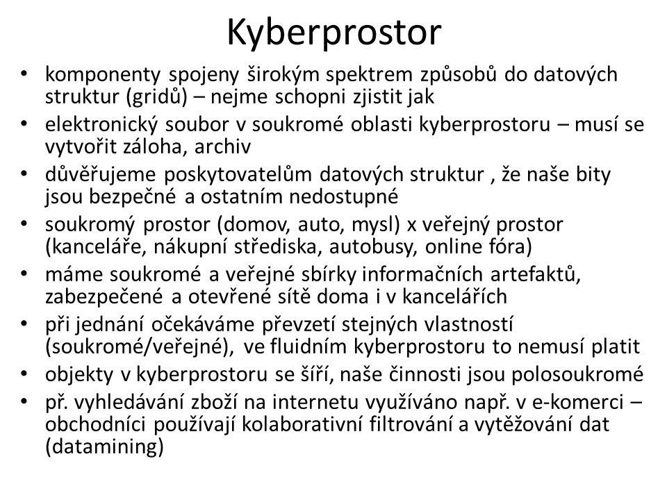 Kyberprostor komponenty spojeny širokým spektrem způsobů do datových struktur (gridů) – nejme schopni zjistit jak elektronický soubor v soukromé oblasti kyberprostoru – musí se vytvořit záloha, archiv důvěřujeme poskytovatelům datových struktur, že naše bity jsou bezpečné a ostatním nedostupné soukromý prostor (domov, auto, mysl) x veřejný prostor (kanceláře, nákupní střediska, autobusy, online fóra) máme soukromé a veřejné sbírky informačních artefaktů, zabezpečené a otevřené sítě doma i v kancelářích při jednání očekáváme převzetí stejných vlastností (soukromé/veřejné), ve fluidním kyberprostoru to nemusí platit objekty v kyberprostoru se šíří, naše činnosti jsou polosoukromé př.