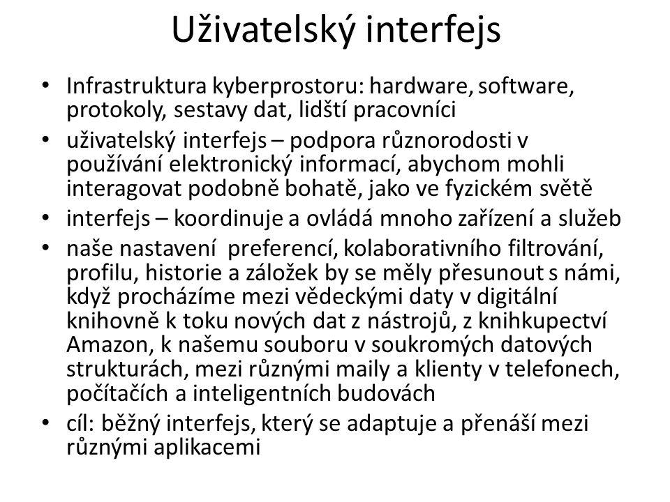 Uživatelský interfejs in formační artefakty (soubory) můžeme přenášet mezi různými platformami (notebook, počítač, mobil) s různými operačními systémy, ale různými uživatelskými interfejsy potřebujeme interfejsy, které uspokojí různorodé potřeby, preference a schopnosti celosvětové populacea kustomizovatelné a různorodé služby a nástroje → univerzální přístupnost a mosty přes digitální propast interfejsy na ovládání veřejných a soukromých informačních toků, nástroje na ovládání exoinformace (vzniká jako vedlejší informační produkt při vyhledávání informací jedincem)