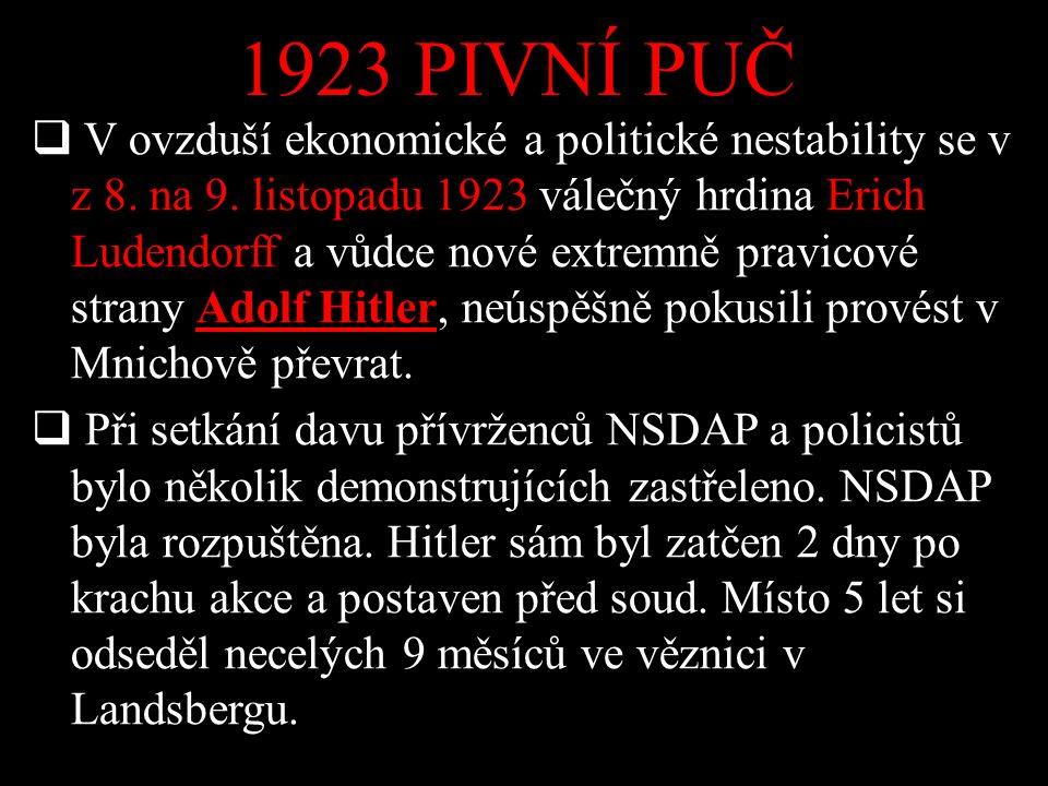 1923 PIVNÍ PUČ  V ovzduší ekonomické a politické nestability se v z 8. na 9. listopadu 1923 válečný hrdina Erich Ludendorff a vůdce nové extremně pra