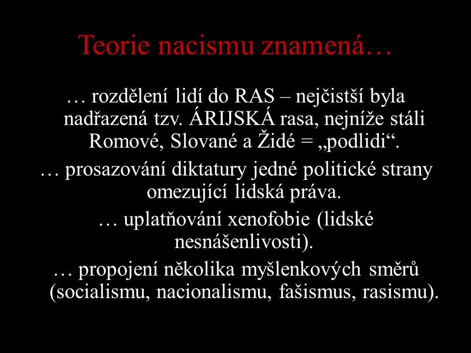 """Teorie nacismu znamená… … rozdělení lidí do RAS – nejčistší byla nadřazená tzv. ÁRIJSKÁ rasa, nejníže stáli Romové, Slované a Židé = """"podlidi"""". … pros"""