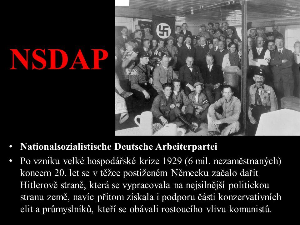 NSDAP Nationalsozialistische Deutsche Arbeiterpartei Po vzniku velké hospodářské krize 1929 (6 mil. nezaměstnaných) koncem 20. let se v těžce postižen