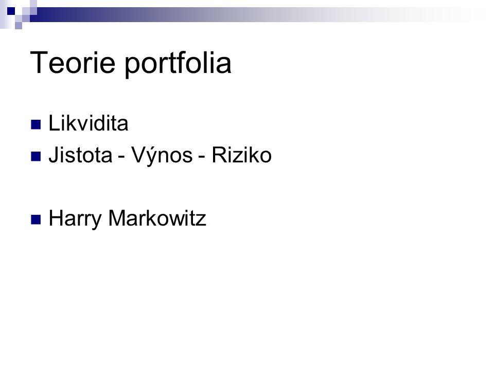 Teorie portfolia Likvidita Jistota - Výnos - Riziko Harry Markowitz