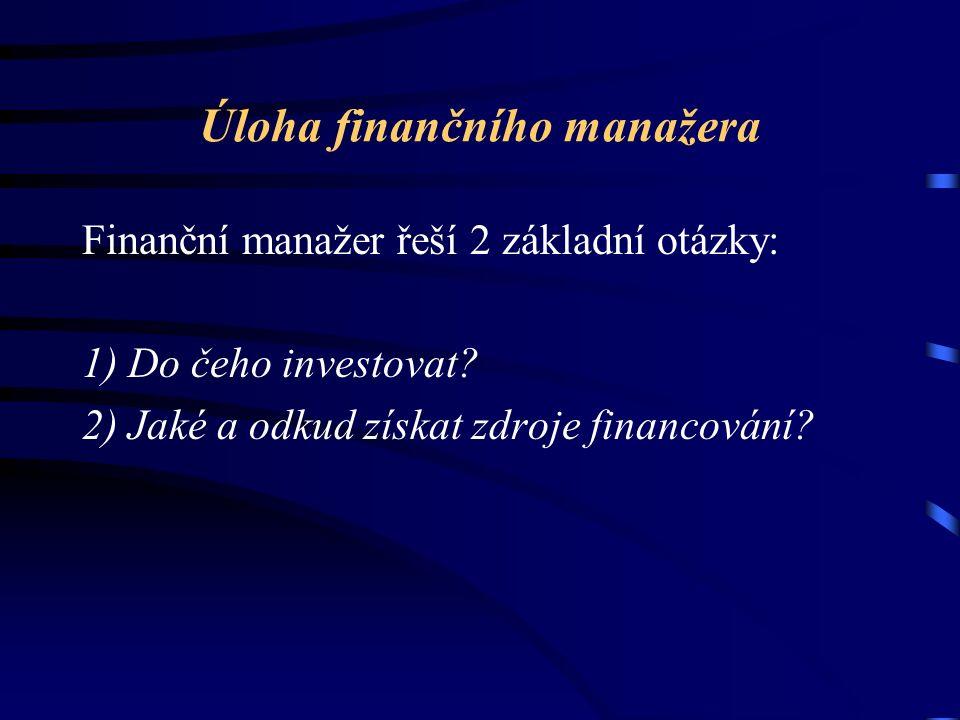 Úloha finančního manažera Finanční manažer řeší 2 základní otázky: 1) Do čeho investovat? 2) Jaké a odkud získat zdroje financování?