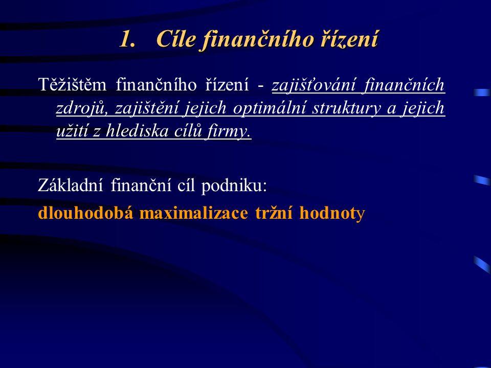 1. Cíle finančního řízení Těžištěm finančního řízení - zajišťování finančních zdrojů, zajištění jejich optimální struktury a jejich užití z hlediska c