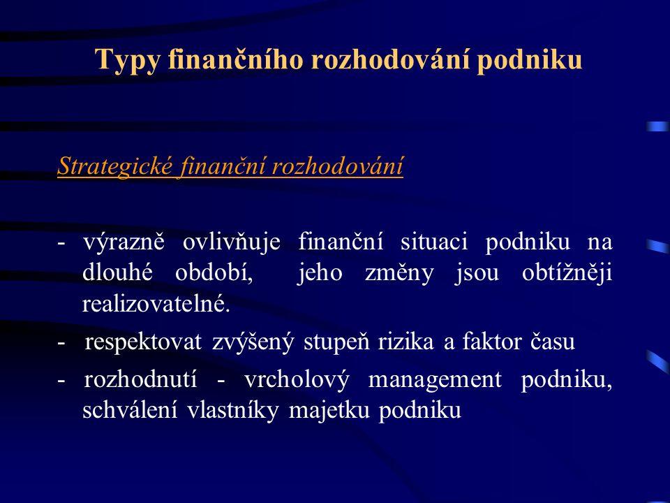 Typy finančního rozhodování podniku Strategické finanční rozhodování - výrazně ovlivňuje finanční situaci podniku na dlouhé období, jeho změny jsou obtížněji realizovatelné.