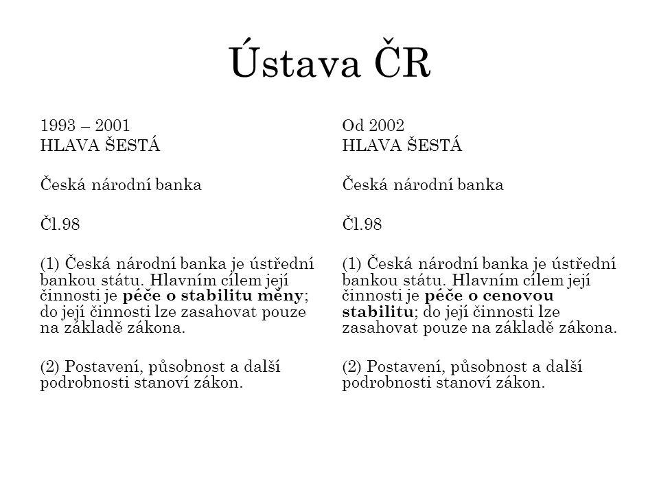 Ústava ČR 1993 – 2001 HLAVA ŠESTÁ Česká národní banka Čl.98 (1) Česká národní banka je ústřední bankou státu.