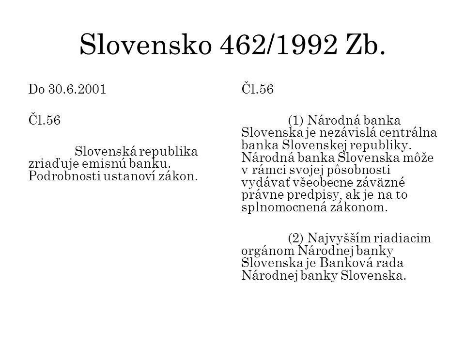 Slovensko 462/1992 Zb. Do 30.6.2001 Čl.56 Slovenská republika zriaďuje emisnú banku.