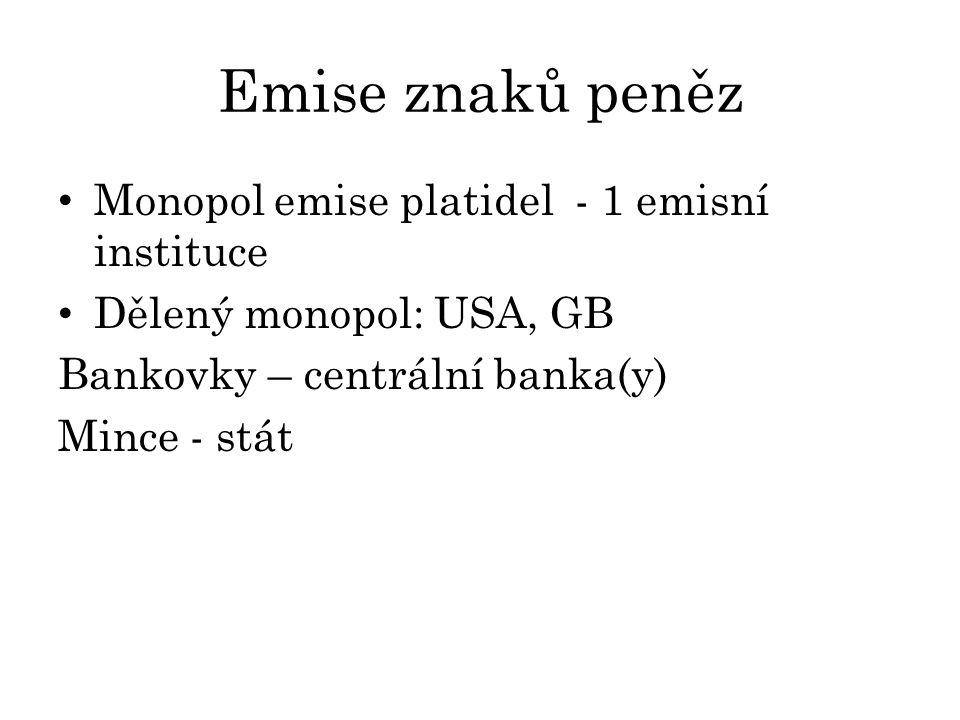 Emise znaků peněz Monopol emise platidel - 1 emisní instituce Dělený monopol: USA, GB Bankovky – centrální banka(y) Mince - stát
