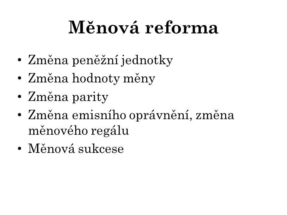 Měnová reforma Změna peněžní jednotky Změna hodnoty měny Změna parity Změna emisního oprávnění, změna měnového regálu Měnová sukcese