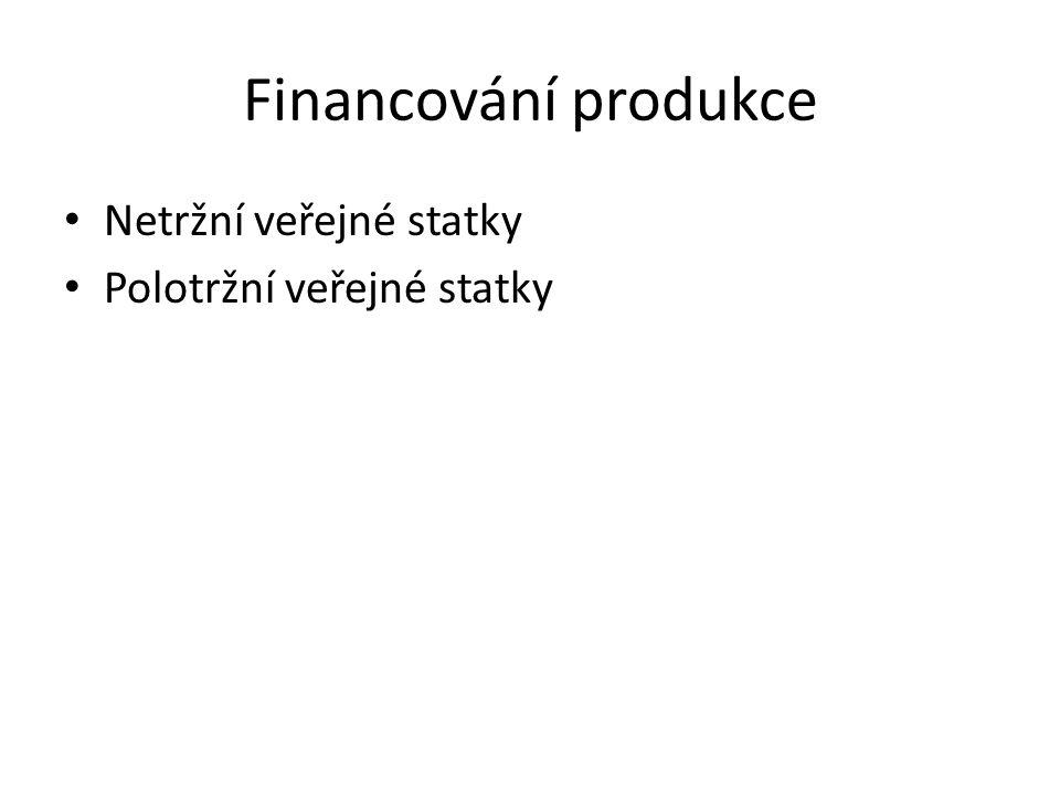 Financování produkce Netržní veřejné statky Polotržní veřejné statky