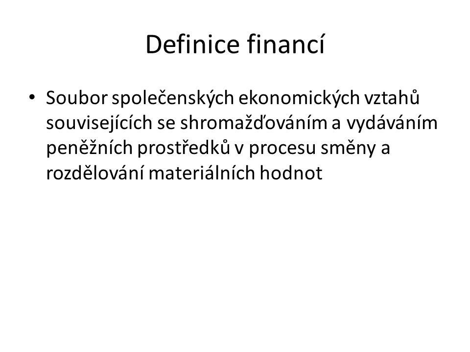 Definice financí Soubor společenských ekonomických vztahů souvisejících se shromažďováním a vydáváním peněžních prostředků v procesu směny a rozdělování materiálních hodnot