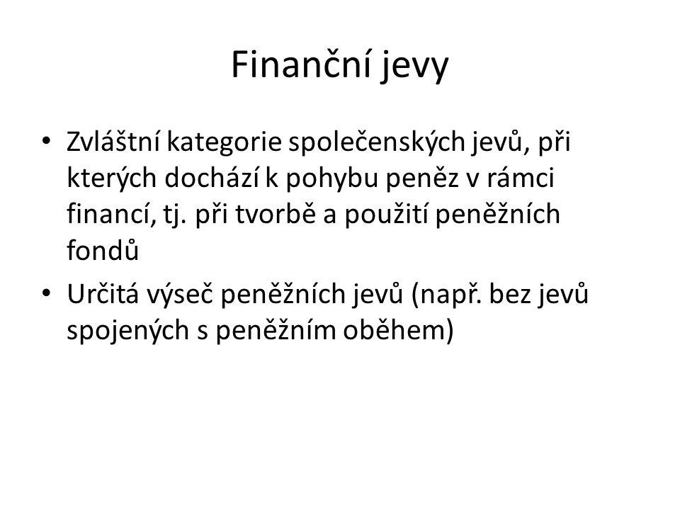 Finanční jevy Zvláštní kategorie společenských jevů, při kterých dochází k pohybu peněz v rámci financí, tj.