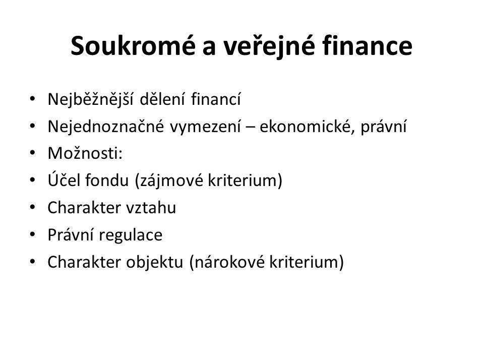 Soukromé a veřejné finance Nejběžnější dělení financí Nejednoznačné vymezení – ekonomické, právní Možnosti: Účel fondu (zájmové kriterium) Charakter vztahu Právní regulace Charakter objektu (nárokové kriterium)