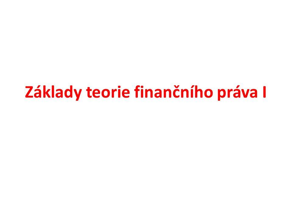 Základy teorie finančního práva I