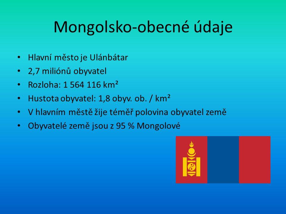 Mongolsko-obecné údaje Hlavní město je Ulánbátar 2,7 miliónů obyvatel Rozloha: 1 564 116 km² Hustota obyvatel: 1,8 obyv. ob. / km² V hlavním městě žij