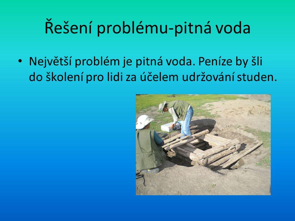 Řešení problému-pitná voda Největší problém je pitná voda. Peníze by šli do školení pro lidi za účelem udržování studen.
