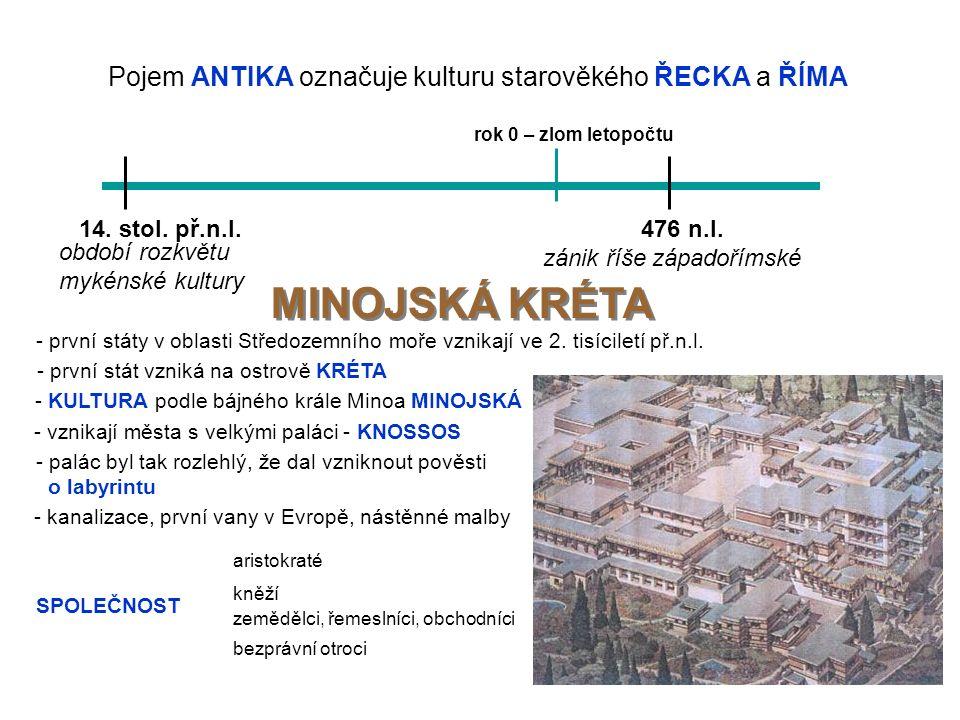 Pojem ANTIKA označuje kulturu starověkého ŘECKA a ŘÍMA rok 0 – zlom letopočtu 14.