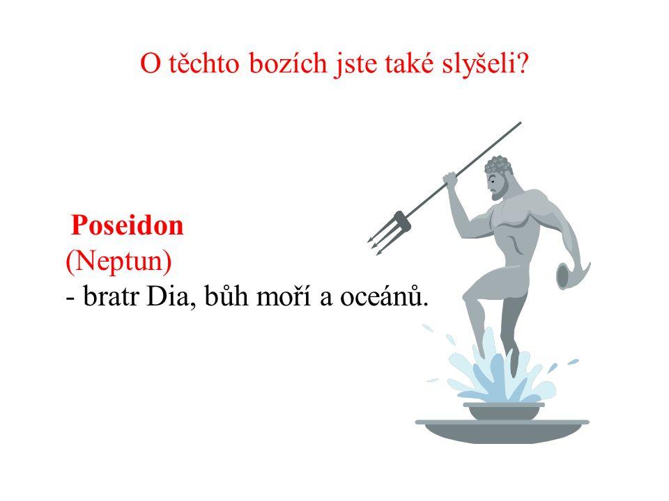 O těchto bozích jste také slyšeli Poseidon (Neptun) - bratr Dia, bůh moří a oceánů.