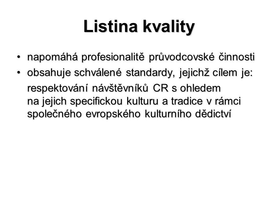 Listina kvality napomáhá profesionalitě průvodcovské činnostinapomáhá profesionalitě průvodcovské činnosti obsahuje schválené standardy, jejichž cílem