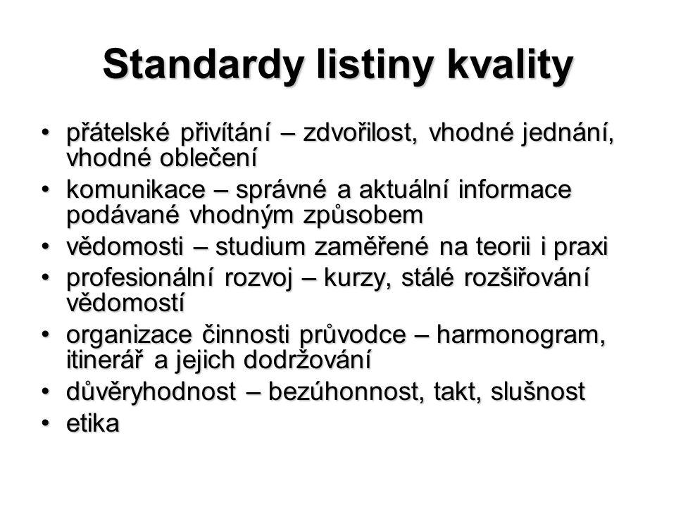 Standardy listiny kvality přátelské přivítání – zdvořilost, vhodné jednání, vhodné oblečenípřátelské přivítání – zdvořilost, vhodné jednání, vhodné ob