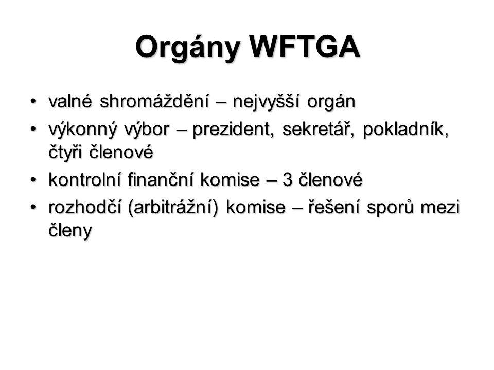Orgány WFTGA valné shromáždění – nejvyšší orgánvalné shromáždění – nejvyšší orgán výkonný výbor – prezident, sekretář, pokladník, čtyři členovévýkonný