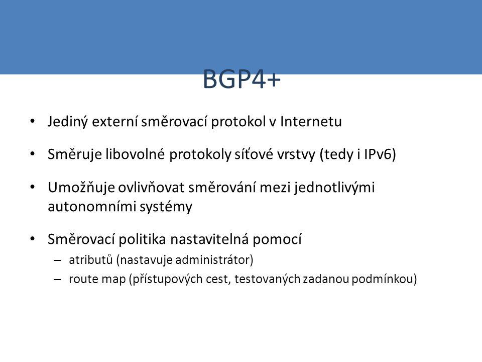 BGP4+ Jediný externí směrovací protokol v Internetu Směruje libovolné protokoly síťové vrstvy (tedy i IPv6) Umožňuje ovlivňovat směrování mezi jednotl