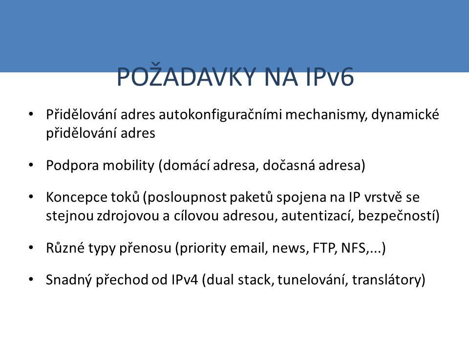 POŽADAVKY NA IPv6 Přidělování adres autokonfiguračními mechanismy, dynamické přidělování adres Podpora mobility (domácí adresa, dočasná adresa) Koncep
