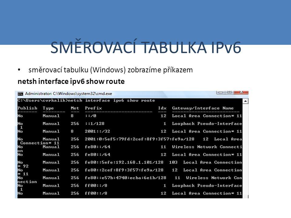 SMĚROVÁNÍ V IPv6 Princip směrování stejný jako u IPv4 Ze směrovací tabulky se vybere ten záznam, jehož prefix odpovídá adrese příjemce, a to v největší délce Směrovací protokoly používají obdobné algoritmy, jako u IPv4, berou v úvahu odlišnosti IPv – RIPng – OSPFv3,v6 – IS-IS – BGP4+