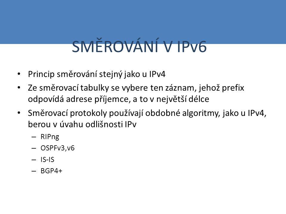 SMĚROVÁNÍ V IPv6 Směrovače by měly mít implementován MTU algoritmus (hledá maximální velikost paketu, který lze poslat danému cíli) Využití protokolu ICMPv6 – Zprávy o členství ve skupině (sousedním směrovačům stejného segmentu): hop limit 1 – Výzva směrovači (objevování sousedů): cílová adresa - všechny uzly (FF02::2), hop limit 255 – Ohlášení směrovače (periodicky nebo na výzvu): hop limit 255 – Výzva sousedovi (ke zjištění linkové adresy požadovaného uzlu): hop limit255 – Ohlášení souseda (odpověď na výzvu nebo ohlášení změny všem sousedům) – Přesměrování (informace ostatním o vhodnější cestě) Cache sousedů – všechny linkové adresy zařízení, od kterých uzel obdržel zprávu ohlášení souseda