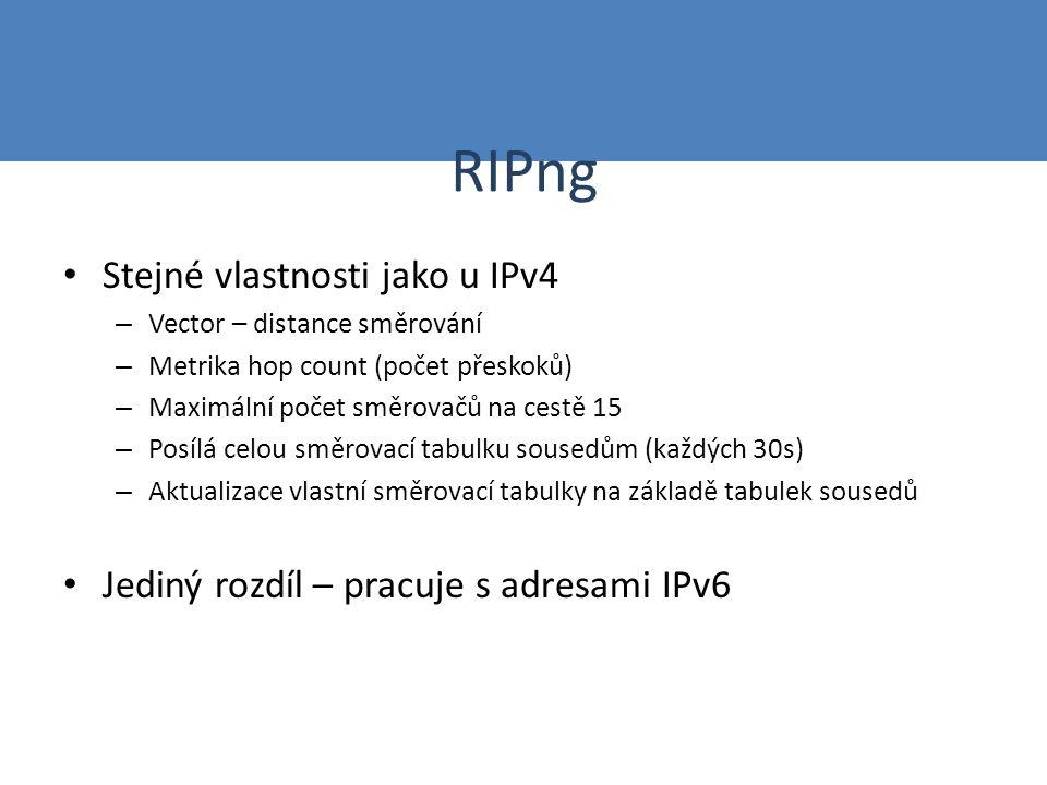 RIPng Stejné vlastnosti jako u IPv4 – Vector – distance směrování – Metrika hop count (počet přeskoků) – Maximální počet směrovačů na cestě 15 – Posíl