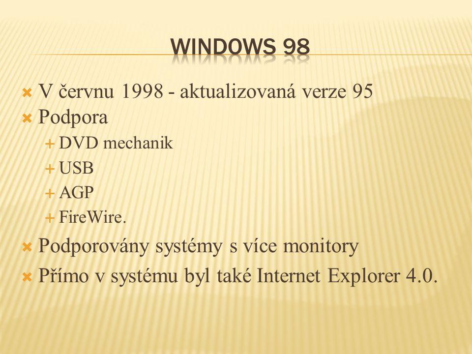  V červnu 1998 - aktualizovaná verze 95  Podpora  DVD mechanik  USB  AGP  FireWire.  Podporovány systémy s více monitory  Přímo v systému byl