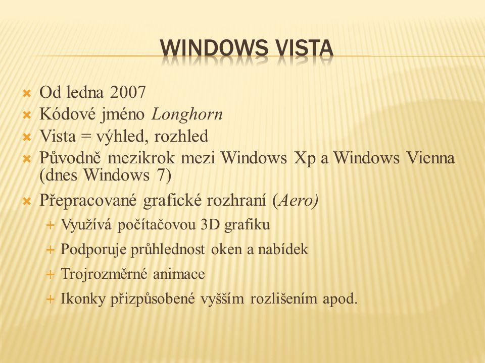  Od ledna 2007  Kódové jméno Longhorn  Vista = výhled, rozhled  Původně mezikrok mezi Windows Xp a Windows Vienna (dnes Windows 7)  Přepracované grafické rozhraní (Aero)  Využívá počítačovou 3D grafiku  Podporuje průhlednost oken a nabídek  Trojrozměrné animace  Ikonky přizpůsobené vyšším rozlišením apod.