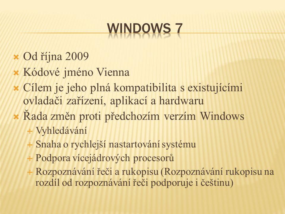  Od října 2009  Kódové jméno Vienna  Cílem je jeho plná kompatibilita s existujícími ovladači zařízení, aplikací a hardwaru  Řada změn proti předchozím verzím Windows  Vyhledávání  Snaha o rychlejší nastartování systému  Podpora vícejádrových procesorů  Rozpoznávání řeči a rukopisu (Rozpoznávání rukopisu na rozdíl od rozpoznávání řeči podporuje i češtinu)