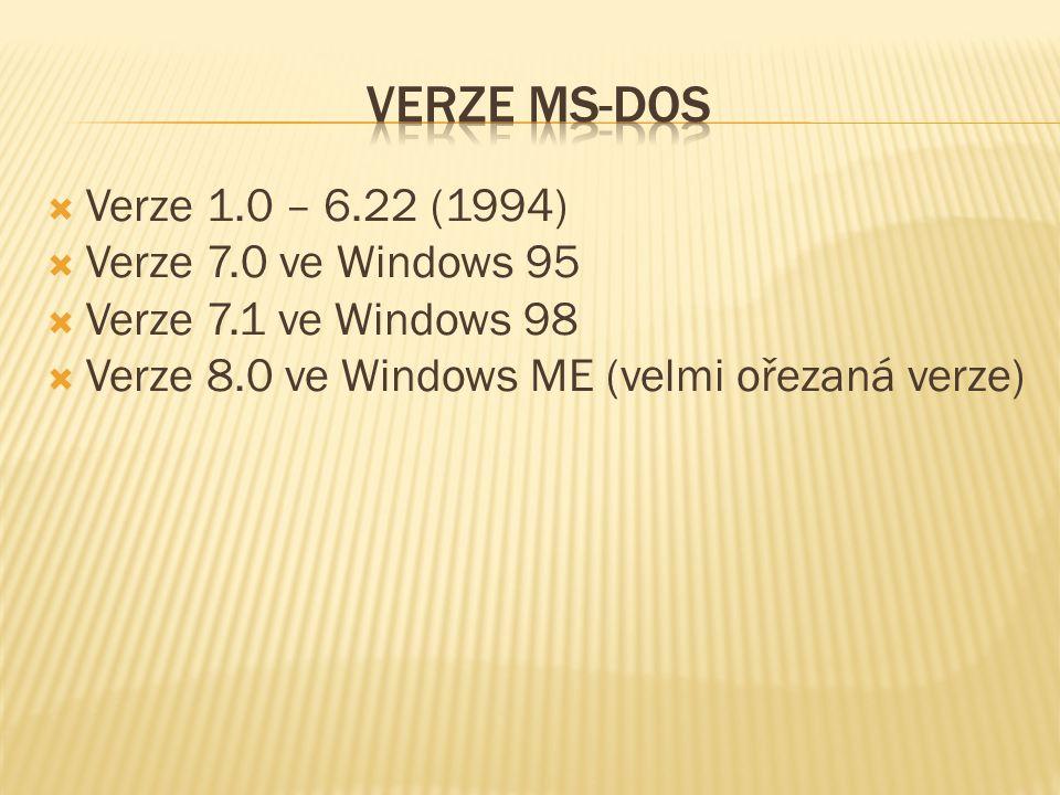  Pouze příkazový řádek  Vznikají grafické nadstavby  Dos Shell  Součástí MS DOS od verze 4.0  InView  Windows