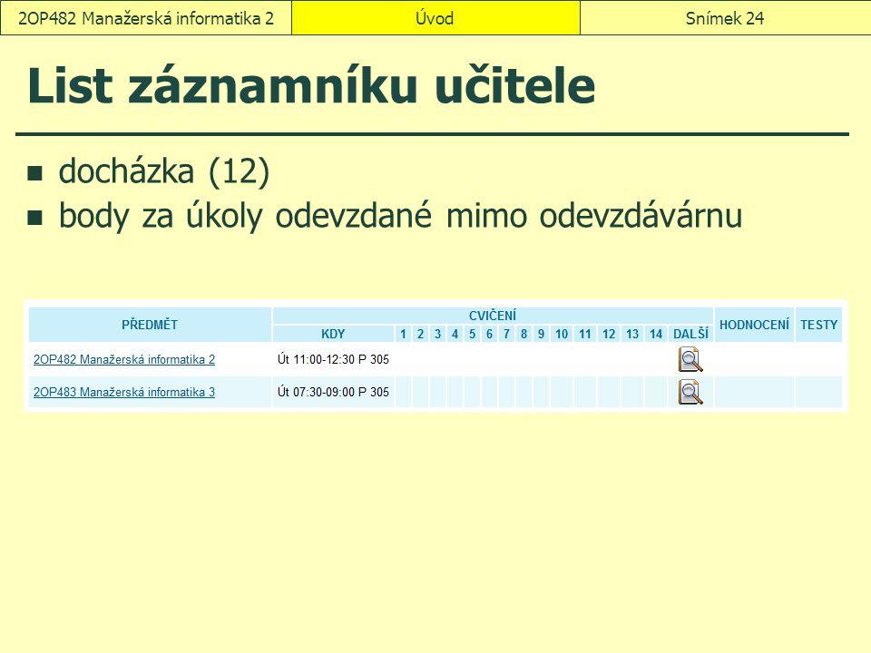 ÚvodSnímek 242OP482 Manažerská informatika 2 List záznamníku učitele docházka (12) body za úkoly odevzdané mimo odevzdávárnu