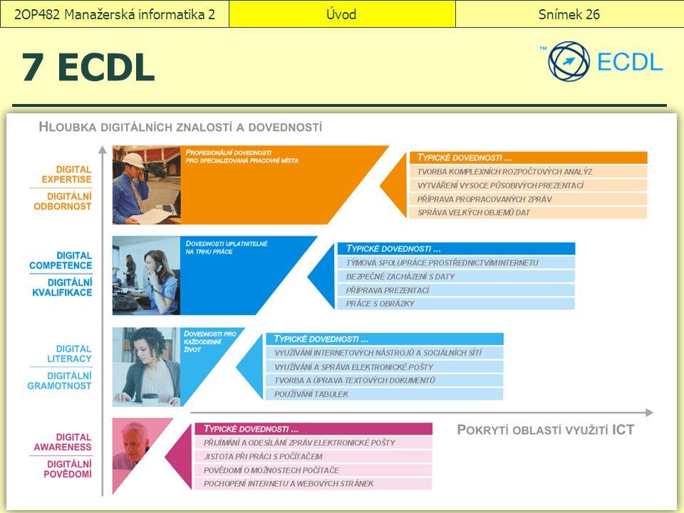 ÚvodSnímek 262OP482 Manažerská informatika 2 7 ECDL