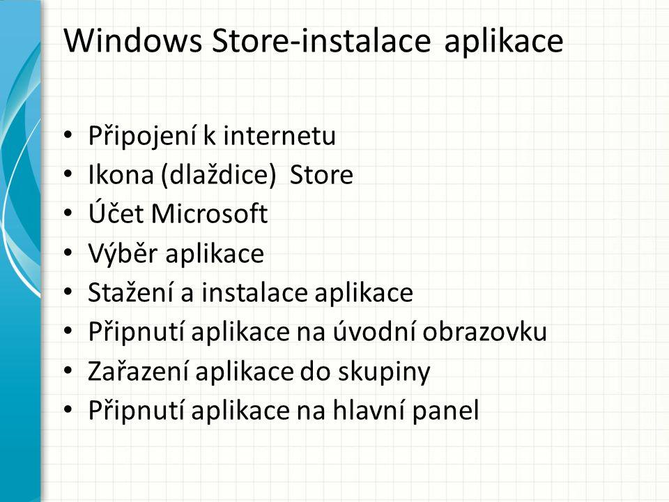 Windows Store-instalace aplikace Připojení k internetu Ikona (dlaždice) Store Účet Microsoft Výběr aplikace Stažení a instalace aplikace Připnutí aplikace na úvodní obrazovku Zařazení aplikace do skupiny Připnutí aplikace na hlavní panel