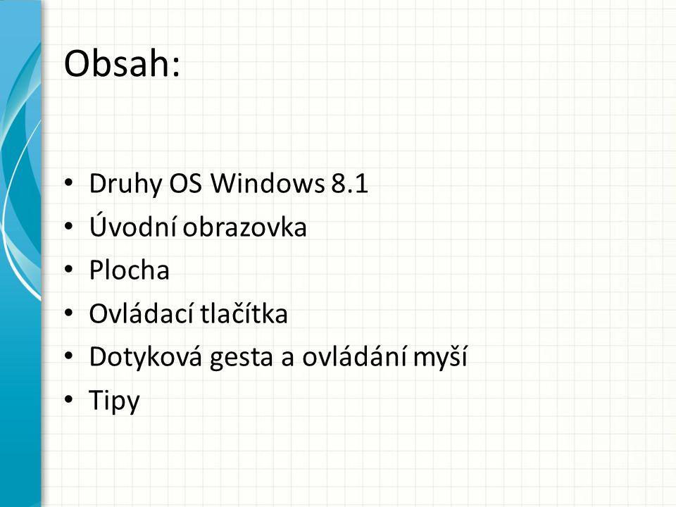 Druhy OS Windows 8.1 Windows RT 8.1 – Podporuje dále pouze aplikace z Windows Store – Office 2013 RT Windows 8.1 Windows 8.1 Pro – BitLocker, připojení k doméně, hostování připojení ke vzdálené ploše Windows 8.1 Enterprise – Kontrola nad obrazovkou Start, vytvoření Windows To Go