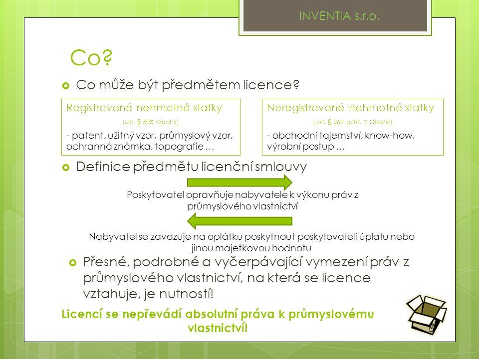 Co.  Definice předmětu licenční smlouvy INVENTIA s.r.o.